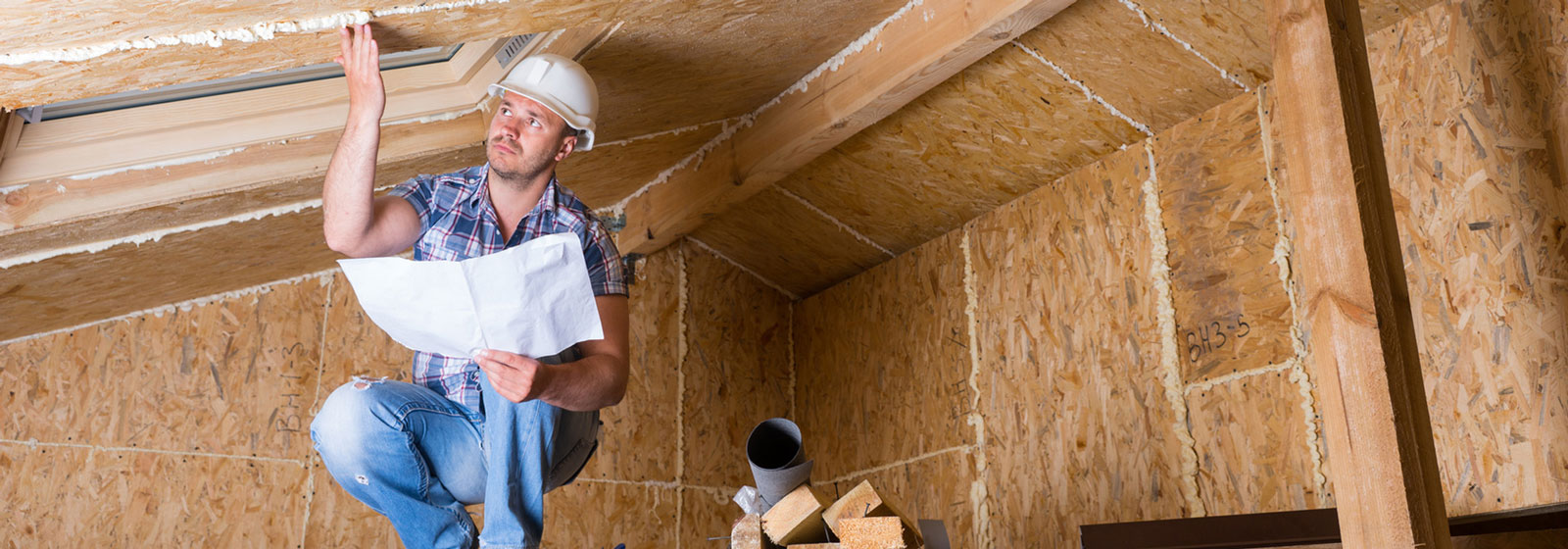 residential home inspector in attic